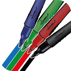 4 couleurs marqueurs permanents